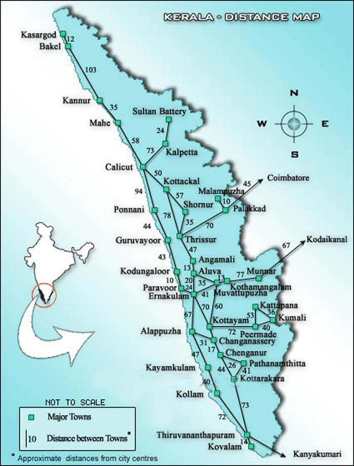 kerala map with distances between the main cities of kerala